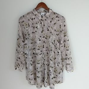 Cabi Matinee sheer long sleeve button down floral blouse size L